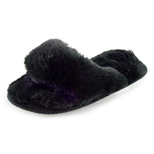 Ladies Toe Post Plush Mule Slippers