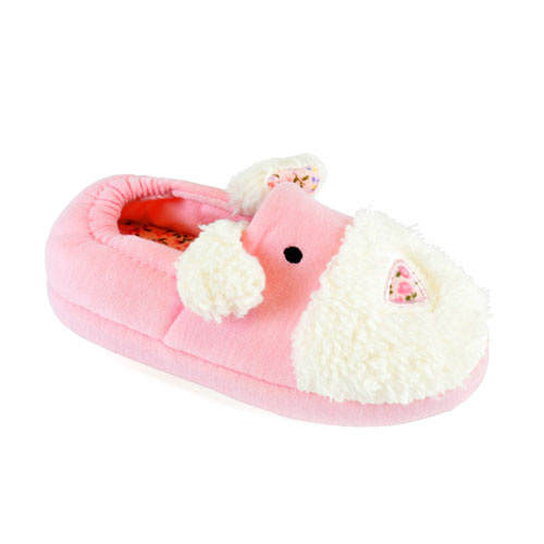 Girls Pink Dog Soft Slippers
