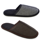 Mens Herringbone Tweed Mule Slippers