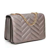 Ladies Luxury Zig-Zag Quilted Crossbody Silver