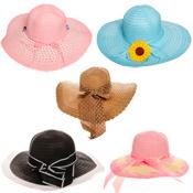 Assorted Woven Wide Brim Summer Hats