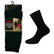 Mens Mixed Knit Essential Cotton Rich Socks Black