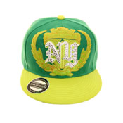 New York Snapback Baseball Cap Green Crest With Diamante