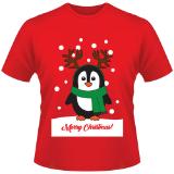 Childrens Christmas T-Shirt Penguin Red
