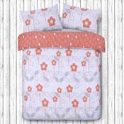 Scandi Floral Coral Duvet Set