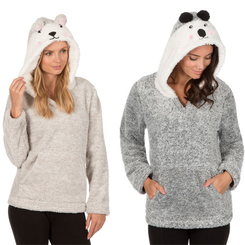 Ladies Flannel Hooded Top Novelty Animal Prints