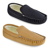 Mens Faux Fur Suede Moccasin Slipper Shoes Black/Tan