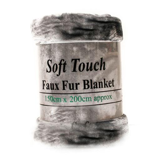 Faux Fur Mink Silver Blanket