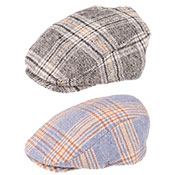 Mens Coloured Check Style Flat Cap