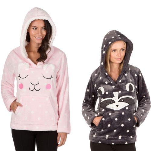 Ladies Flannel Hooded Top Animal Prints