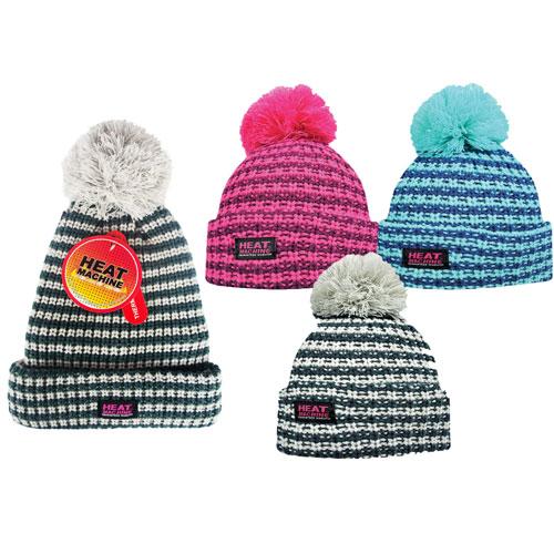 Heat Machine Knitted Pom Pom Hat with Lining