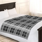 Fleece Blanket Checkered Grey