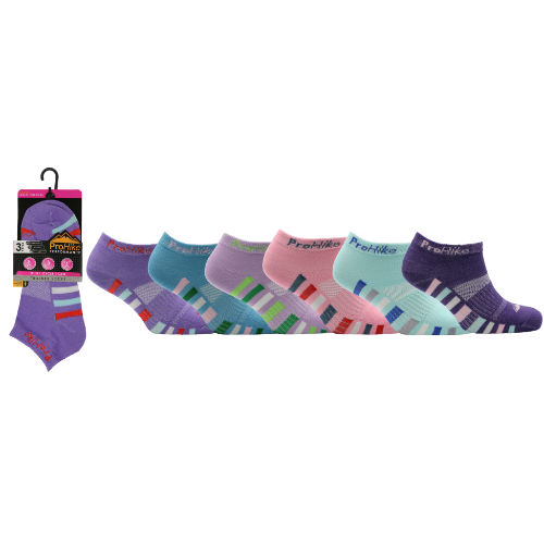 Ladies ProHike 3 pack Design Trainer Socks
