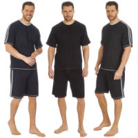 Mens T Shirt And Short Set With Contrasting Stripe