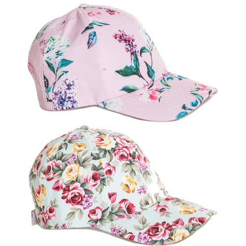 Ladies Floral Print Baseball Cap Blue/Pink