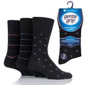 Mens Gentle Grip Socks Edward Multi Pattern Black