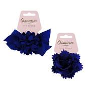 Navy Flower Hair Bobbles