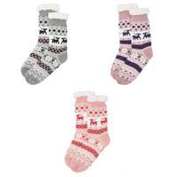 Ladies Cosy Slipper Socks with Lining Reindeer