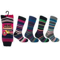 Ladies Heat Machine Thermal Socks Stripes 2.3 Tog