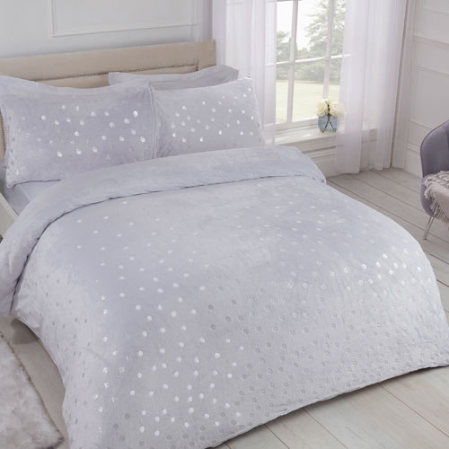Comfy Fleece Foil Dots Duvet Set Silver