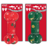 Christmas Print Rubber Bone Dog Toy