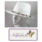 Ladies Straw Fedora Hat With Flower Trim
