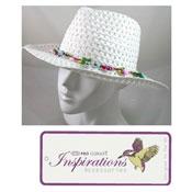 Ladies Straw Fedora Hat With Flower Trim