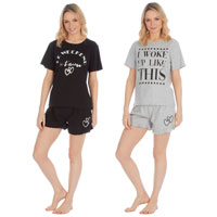 Ladies Jersey Printed Pyjama Frill Hem Shorts Set