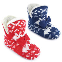 Girls Rabbit Printed Knitted Bootie Slippers