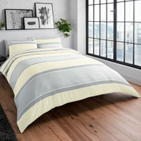 Banded Stripe Grey Yellow Reversible Duvet Set