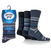 Mens Gentle Grip Blue Assorted Stripe Socks