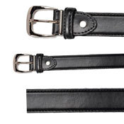 58% Leather Plain Curved Buckle Belt Black