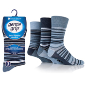 Mens Gentle Grip Light Blue Assorted Stripe Socks