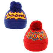 Childrens Novelty Slogan Pom Pom Hat Boom/Pow