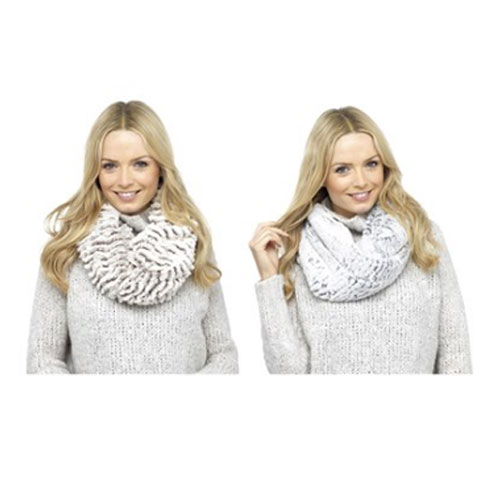 Ladies Soft Textured Snood Scarf Assorted