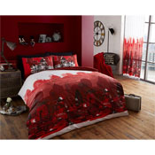 London Zoom Duvet Sets Red