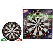 "17"" Double Sided Dart Board With 6 Darts"