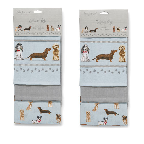 Curious Dogs Tea Towels 3 Pack