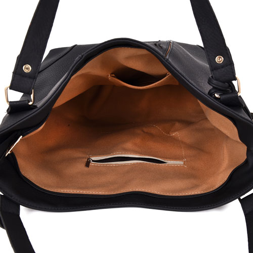 Miai Double Tassel Shopper Bag Black