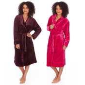 Ladies Flannel Shawl Collar Dressing Gown