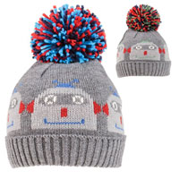Boys Robot Knitted Bobble Hat