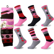 Polar Thermal Ladies Fashion Socks Dots/Stripes