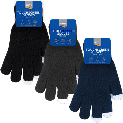 Mens Cosy Touchscreen Gloves Carton Price
