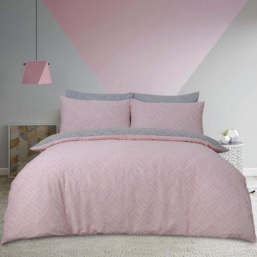 Square Dots Geo Pink Duvet Set