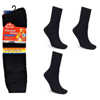 Mens Long Thermal Socks Brushed Black