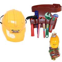 Plastic Construction Helmet With Tools
