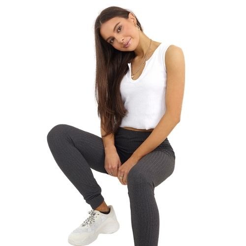 Ladies Charcoal Stretchy Ribbed Leggings