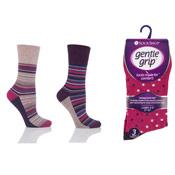 Ladies Gentle Grip Socks Stripe Dot Pink