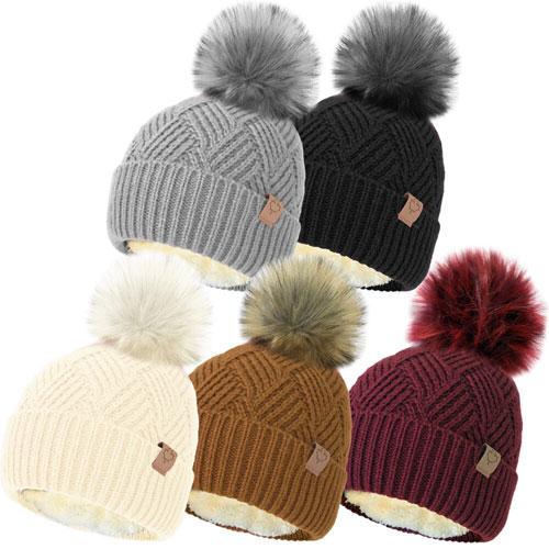 Ladies Fleece Liner Bobble Hat With Detachable Pom Pom