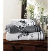 Egyptian Cotton Belvoir Bath Sheet White with Grey Trim